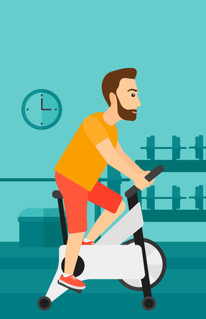 deportes caricatura: Un hombre inconformista de la barba ejercita en la bicicleta estacionaria de formaci�n en la ilustraci�n vectorial dise�o plano gimnasio. disposici�n vertical.