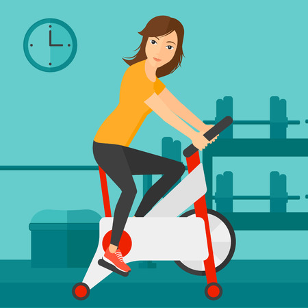 A woman exercising on stationary training bicycle in the gym vector flat design illustration. Square layout. Vectores