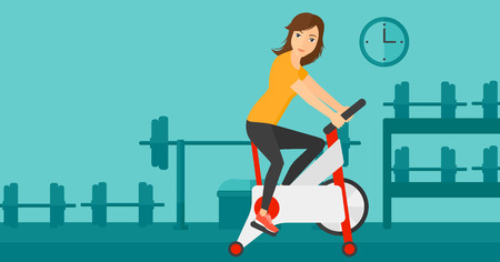 A woman exercising on stationary training bicycle in the gym vector flat design illustration. Horizontal layout.