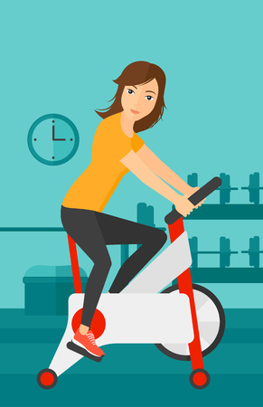 stationary bicycle: A woman exercising on stationary training bicycle in the gym vector flat design illustration. Vertical layout.