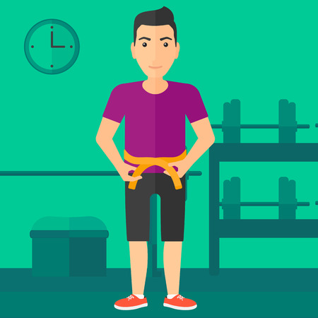 A man measuring his waistline with a tape in the gym vector flat design illustration. Square layout.