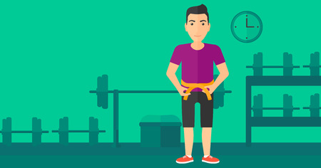waistline: A man measuring his waistline with a tape in the gym vector flat design illustration. Horizontal layout. Illustration