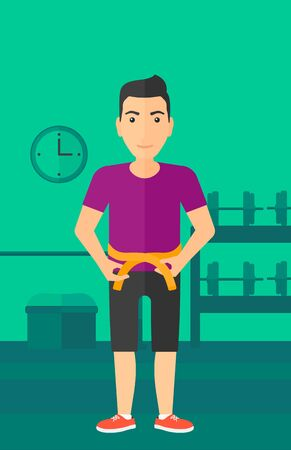 A man measuring his waistline with a tape in the gym vector flat design illustration. Vertical layout. 向量圖像
