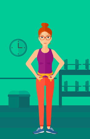 waistline: A happy woman measuring her waistline with a tape in the gym vector flat design illustration. Vertical layout.