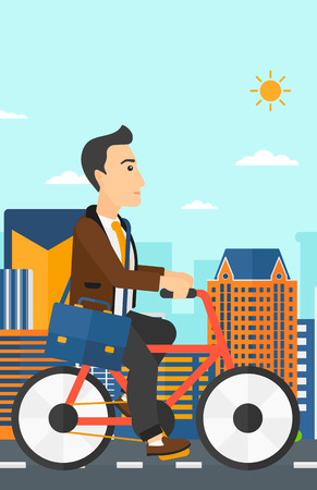 cycle suit: A man with a briefcase cycling to work on city background vector flat design illustration. Vertical layout.