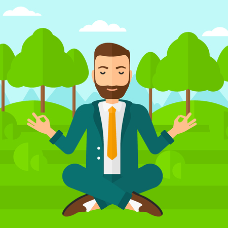 A hipster businessman with the beard meditating in lotus pose in the park vector flat design illustration. Square layout.