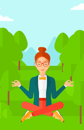 A business woman meditating in lotus pose in the park vector flat design illustration. Vertical layout.