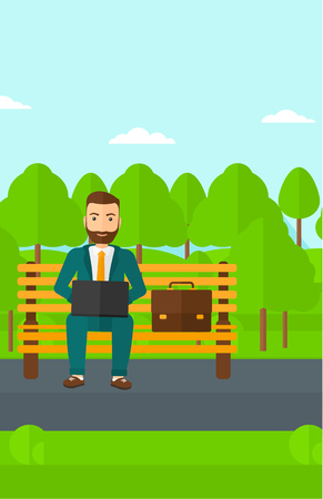 A hipster man with the beard sitting in the park on a bench and working on a laptop vector flat design illustration. Vertical layout.