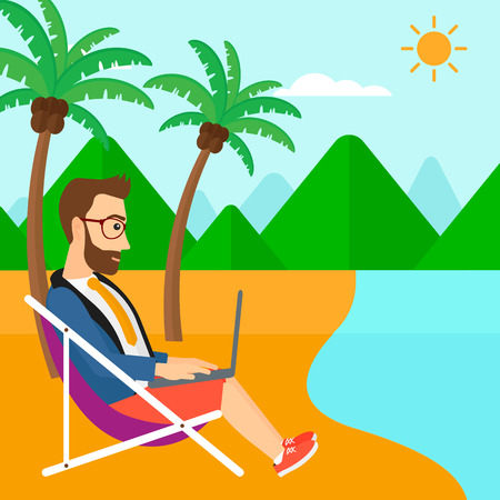 chaise lounge: A hipster businessman with the beard sitting on the beach in chaise lounge and working on a laptop vector flat design illustration. Square layout. Illustration