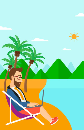 chaise lounge: A hipster businessman with the beard sitting on the beach in chaise lounge and working on a laptop vector flat design illustration. Vertiacl layout. Illustration