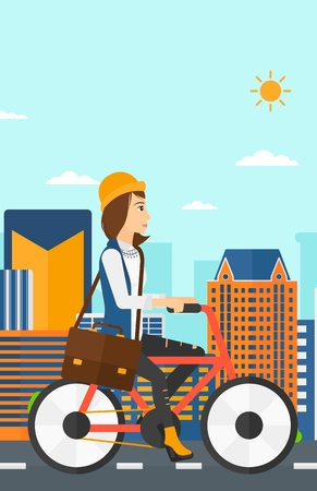 cartoon building: A woman with a briefcase cycling to work on city background vector flat design illustration. Vertical layout.