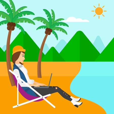 chaise lounge: A business woman sitting on the beach in chaise lounge and working on a laptop vector flat design illustration. Square layout.