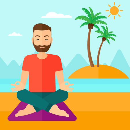 A hipster man with the beard meditating in lotus pose on the beach vector flat design illustration. Square layout.