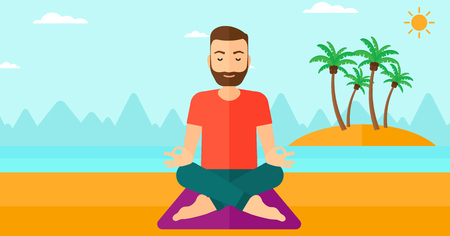 elasticity: A hipster man with the beard meditating in lotus pose on the beach vector flat design illustration. Horizontal layout.
