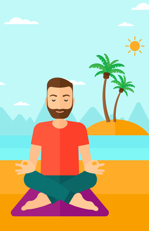 A hipster man with the beard meditating in lotus pose on the beach vector flat design illustration. Vertical layout.