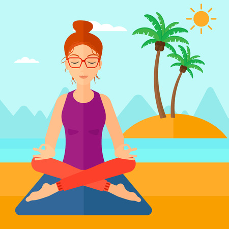 elasticity: A woman meditating in lotus pose on the beach vector flat design illustration. Square layout.