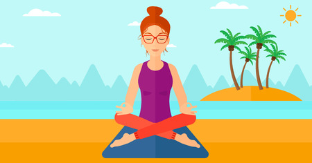 elasticity: A woman meditating in lotus pose on the beach vector flat design illustration. Horizontal layout.