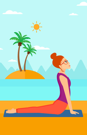 A woman practicing yoga upward dog pose on the beach vector flat design illustration. Vertical layout.