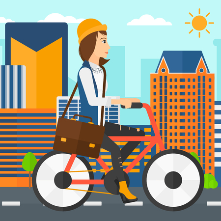 cartoon building: A woman with a briefcase cycling to work on city background vector flat design illustration. Square layout.