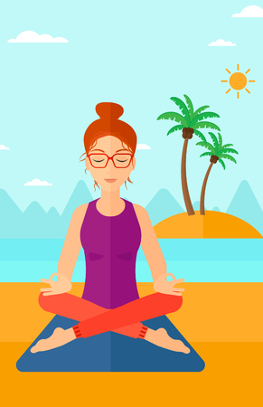 elasticity: A woman meditating in lotus pose on the beach vector flat design illustration. Vertical layout.