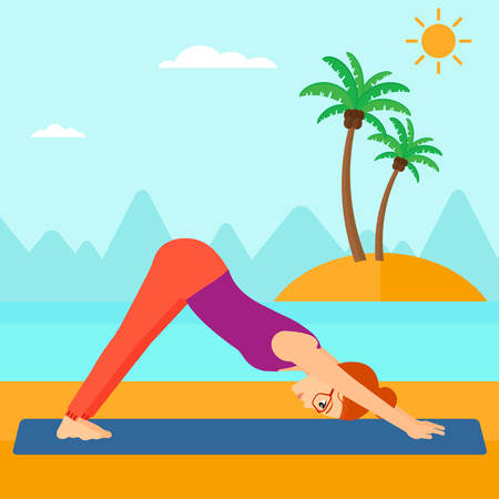 downward: A woman standing in yoga downward facing dog pose on the beach vector flat design illustration. Square layout. Illustration