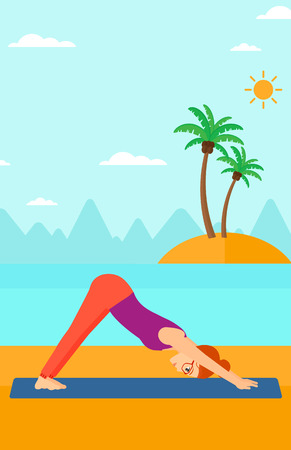 facing: A woman standing in yoga downward facing dog pose on the beach vector flat design illustration. Vertical layout.