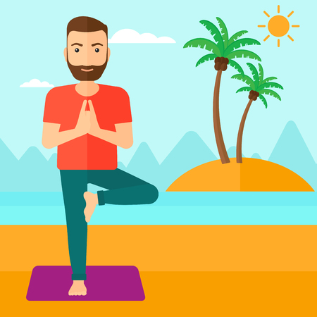 man meditating: A hipster man with the beard standing in yoga tree pose on the beach vector flat design illustration. Square layout. Illustration