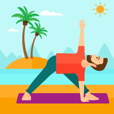 man meditating: A hipster man with the beard meditating in yoga triangle pose on the beach vector flat design illustration. Square layout. Illustration