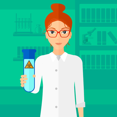 assistant: A laboratory assistant holding a test tube with biohazard sign on a laboratory background vector flat design illustration.  Square layout.