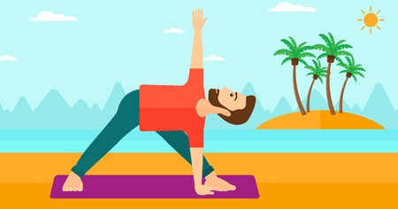 man meditating: A hipster man with the beard meditating in yoga triangle pose on the beach vector flat design illustration. Horizontal layout.