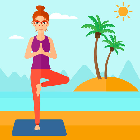A woman standing in yoga tree pose on the beach vector flat design illustration. Square layout. Illustration