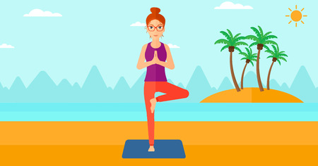 A woman standing in yoga tree pose on the beach vector flat design illustration. Horizontal layout.
