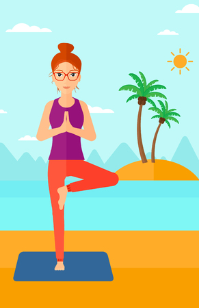flexible woman: A woman standing in yoga tree pose on the beach vector flat design illustration. Vertical layout. Illustration