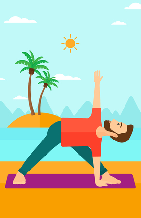 man meditating: A hipster man with the beard meditating in yoga triangle pose on the beach vector flat design illustration. Vertical layout.