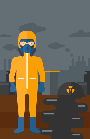 hazard: A man wearing a protective chemical suit for toxic atmosphere on background of nuclear power plant vector flat design illustration. Vertical layout.