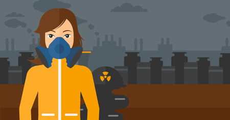 the atmosphere: A woman wearing a protective chemical suit for toxic atmosphere on background of nuclear power plant vector flat design illustration. Horizontal layout.