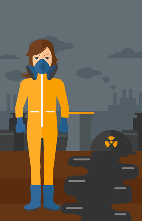 radiation protection suit: A woman wearing a protective chemical suit for toxic atmosphere on background of nuclear power plant vector flat design illustration. Vertical layout.