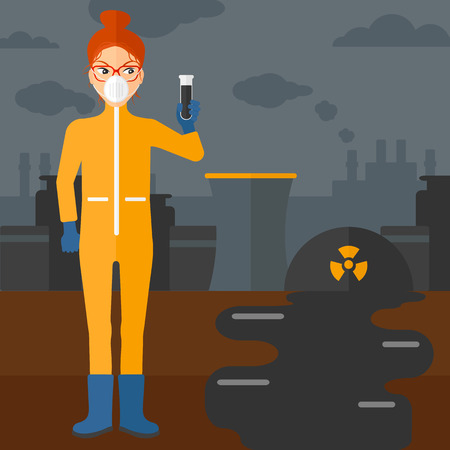 radiation suit: A laboratory assistant in protective chemical suit holding a test-tube in hand on background of nuclear power plant vector flat design illustration. Square layout.