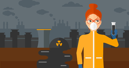 A laboratory assistant in protective chemical suit holding a test-tube in hand on background of nuclear power plant vector flat design illustration. Horizontal layout. Иллюстрация