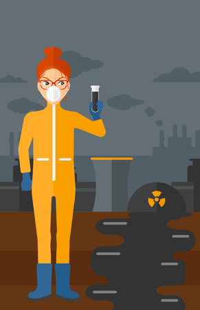 radiation suit: A laboratory assistant in protective chemical suit holding a test-tube in hand on background of nuclear power plant vector flat design illustration. Vertical layout.