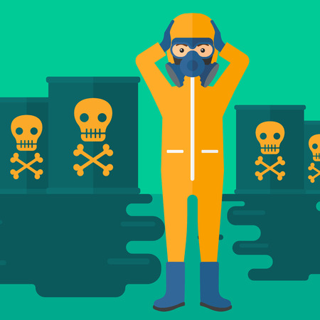 barrel radioactive waste: A man in protective chemical suit clutching his head while standing in polluted water with radioactive barrel vector flat design illustration. Square layout.