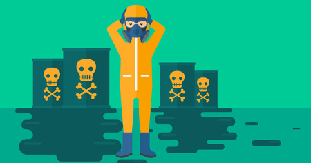 poison symbol: A man in protective chemical suit clutching his head while standing in polluted water with radioactive barrel vector flat design illustration. Horizpntal layout.