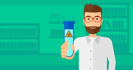 A laboratory assistant holding a test tube with biohazard sign on a laboratory background vector flat design illustration. Horizontal layout.