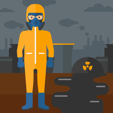 radiation protection suit: A man wearing a protective chemical suit for toxic atmosphere on background of nuclear power plant vector flat design illustration. Square layout. Illustration