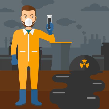 testtube: A hipster laboratory assistant in protective chemical suit holding a test-tube in hand on background of nuclear power plant vector flat design illustration. Square layout. Illustration