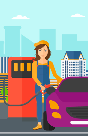 filling: A woman filling up fuel into the car on a city background vector flat design illustration. Vertical layout.