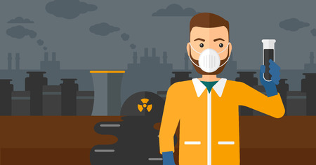 A hipster laboratory assistant in protective chemical suit holding a test-tube in hand on background of nuclear power plant vector flat design illustration. Horizontal layout. Vetores