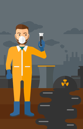 testtube: A hipster laboratory assistant in protective chemical suit holding a test-tube in hand on background of nuclear power plant vector flat design illustration. Vertical layout. Illustration