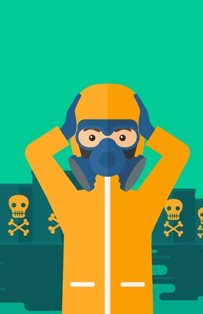 polluted: A man in protective chemical suit clutching his head while standing in polluted water with radioactive barrel vector flat design illustration. Vertical layout.