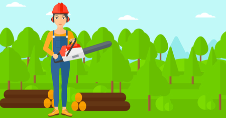 devastation: A lumberjack holding a chainsaw on a forest background vector flat design illustration. Horizontal layout.